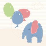 Vector illustration with little elephant  and colorful  baloons Stock Photo