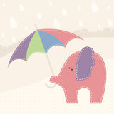 Vector illustration with little elephant  and colorful umbrella Royalty Free Stock Image