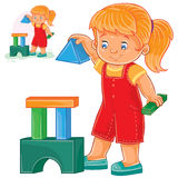 Vector illustration of a little girl building a tower of children s building blocks. Royalty Free Stock Images