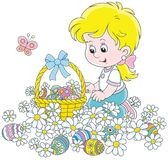 Easter egg hunt. Vector illustration of a little girl with a decorated basket collecting colorfully painted eggs among white daisies Royalty Free Stock Image