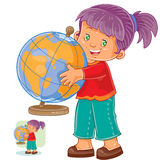 Vector illustration of a little girl hugging the globe Stock Photography