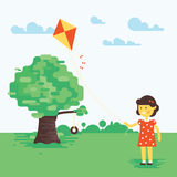 Vector illustration of little girl with kite Stock Photography