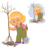 Vector illustration of a little girl planting a tree Royalty Free Stock Photo