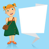 Vector Illustration Of A Little Girl With White Or Stock Image