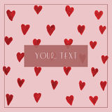Vector illustration with little hand drawn hearts on pink background Stock Photos