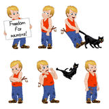Vector Illustration little hellion boy set emotions. Boy has untidy appearance and holding in his hand a slingshot. Little hellion boy set emotions. Boy has Royalty Free Stock Photography