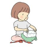Vector illustration of little kid girl unwrapping a present. Happy Birthday, Happy New Year & Merry Christmas, holiday. Opening a gift box. Cartoon character vector illustration