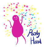 Vector illustration of the little man dancing against the stars. Party hard Royalty Free Stock Image