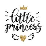 Vector illustration of Little Prince text. Vector illustration of Little Prince, text for girls clothes. Royal badge, tag, icon. Inspirational quote card stock illustration