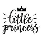 Vector illustration of Little Prince text. Vector illustration of Little Prince, text for girls clothes. Royal badge, tag, icon. Inspirational quote card Royalty Free Stock Photos