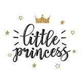 Vector illustration of Little Prince text. Vector illustration of Little Prince, text for girls clothes. Royal badge, tag, icon. Inspirational quote card Stock Photos