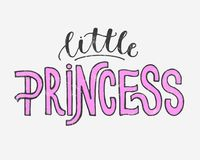 Vector illustration of Little Princess text for girls clothes. Royal badge, card, postcard, tag, icon. T-shirt design. Inspiration vector illustration