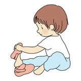 Vector illustration of little toddler sitting on floor and trying to put on his own shoes. Early childhood development, education. Learning, dressing skill stock illustration