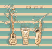 Vector illustration of live music with guitar, saxophone, djembe Stock Image