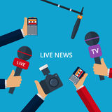 Vector illustration of live news. Hands with microphones , tape Royalty Free Stock Image