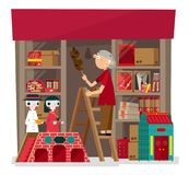 Vector illustration of local incense and paper-crafted offering shop in Hong Kong. A shop keeper of a local incense and paper-crafted offering shop doing her royalty free illustration