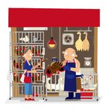 Vector illustration of local live poultry stall in Hong Kong. Vector illustration of a housewife buys chicken from a local live poultry stall in Hong Kong royalty free illustration