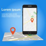 Vector illustration of location search on the phone screen vector illustration