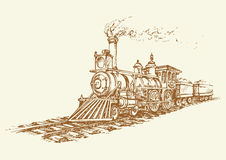 Vector illustration. Locomotive. Diesel motive power moving engine isolated on white backdrop. Freehand outline ink hand drawn picture sketchy in art scribble Royalty Free Stock Images