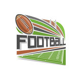 Vector illustration for logo of american football. Consisting of a green grassy playing field and a brown leather american football ball pigskin with lacing Royalty Free Stock Photos