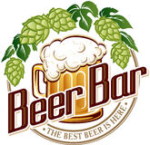 Vector illustration logo of beer pub bar. Royalty Free Stock Photo