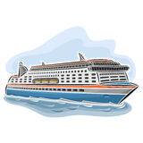 Vector illustration of logo for cruise ferry. Consisting of passenger cars nautical express ferryboat ship, floating on the ocean sea waves close-up on blue Stock Photo