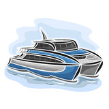Vector illustration of logo for ferry catamaran. Vector illustration of logo for high-speed ferry catamaran, consisting of velocity passenger express ship Stock Photo