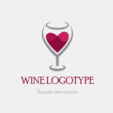 Vector illustration logo glass of red wine on a white background in the form of heart.  Stock Photo