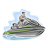 Vector illustration of logo for high-speed jet ski Stock Image