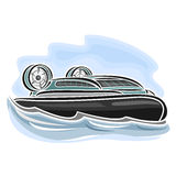 Vector illustration of logo for hovercraft. On air-cushion, consisting of speed cartoon hover cushioncraft with propeller, floating on the ocean sea waves close Stock Image