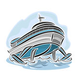 Vector illustration of logo for hydrofoil ship Royalty Free Stock Images