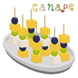 Vector illustration logo for ripe colorful canapes with berry olives Royalty Free Stock Photo