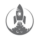 Vector illustration logo rocket takeoff, smoke. Vector illustration of a rocket taking off the logo in the sky, smoke Stock Images