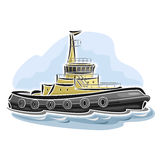 Vector illustration of logo for tugboat Royalty Free Stock Image