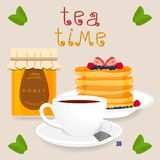 Vector illustration logo for white ceramic cup. Vector icon illustration logo for white ceramic cup, whole jar honey, pancake, teacup on saucer. Teacup pattern Stock Images