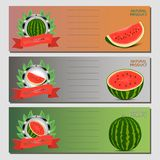 Vector illustration logo for whole ripe red fruit watermelon, green stem, cut half, sliced slice berry with red flesh. Watermelon pattern from natural sweet Stock Photography