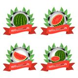 Vector illustration logo for whole ripe red fruit watermelon, green stem, cut half, sliced slice berry with red flesh. Royalty Free Stock Photos