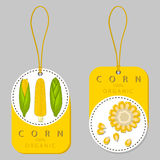 Vector illustration logo for whole ripe vegetable yellow corn. With green stem leaf,cut sliced.Corn drawing pattern consisting of tag label bow,peel grain,pip Stock Photos