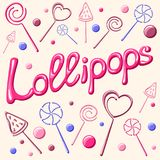 Lollipops card. Vector illustration with lollipops, candies and caption Royalty Free Stock Images