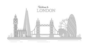 Vector illustration of London cityscape as an infographic tourist sights of Great Britain, welcome to United kingdom royalty free illustration