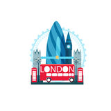 Vector illustration of London Great Britain with famous sights a. Nd raining weather isolated stock illustration