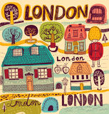 Vector illustration with London symbols Stock Photo