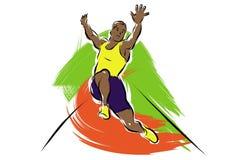 Long jumper. A vector illustration of a long jumping man at the olympics Stock Photos