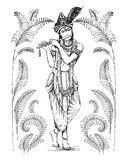 Vector illustration of Lord Krishna playing flute on Happy Janmashtami holiday Indian festival greeting background. Vector illustration of Lord Krishna playing vector illustration