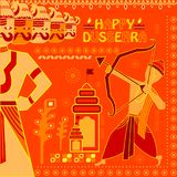 Lord Rama killing Ravana in Happy Dussehra festival of India Royalty Free Stock Images