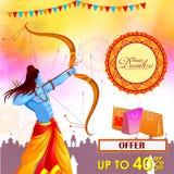 Lord Rama killing Ravana in Happy Dussehra festival offer Stock Photography