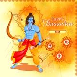 Lord Rama killing Ravana in Happy Dussehra festival offer Royalty Free Stock Image