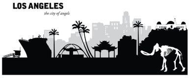 Vector illustration of Los Angeles California cityscape skyline. Vector illustration of the city of Los Angeles, California, USA in black and white silhouette Stock Photo