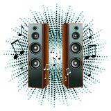 Vector illustration with loudspeakers and notes. Vector party illustration with loudspeakers and notes Royalty Free Stock Photos