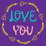 Vector illustration Love in a flower frame. lettering. Handwritten quote. Vector illustration EPS10. Colorful design for poster, p stock illustration